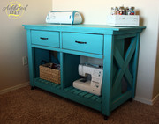 Double Rustic X Kitchen Island Turned Craft Cart