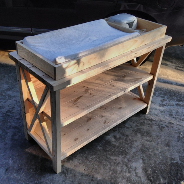 Rustic X Changing Table - Side, Unfinished
