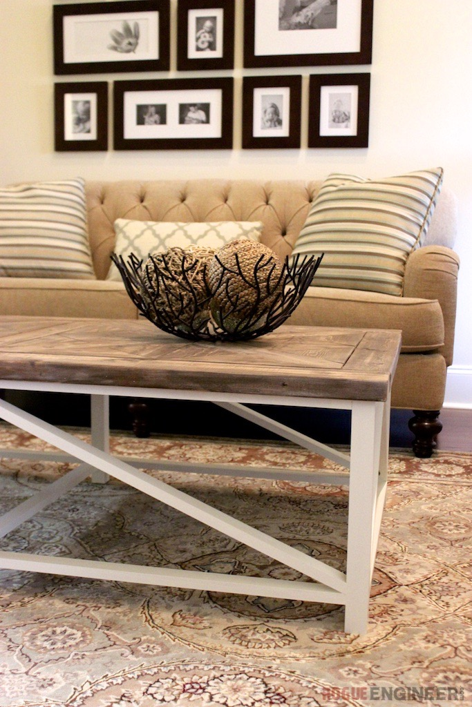 DIY Parquet X-Brace Coffee Table | Free Plan | Rogue Engineer