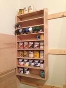 finishing shelf with paints