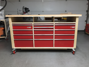 Assembly Workbench with recycled drawers