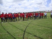 Of these youth, four of them are in a sports camp, their chaperons are monitoring and encouraging them. Kenya
