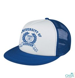 white and blue baseball cap with logo