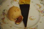 Mayan Gold Chocolate Tart with Plum Ice-Cream