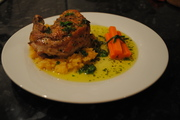 Pan-Roasted Guinea Fowl, with Parsley Butter. Served on Swede Mash.