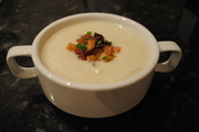 Cauliflower and Gorgonzola Soup with a Pickled Pear Relish