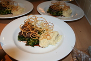 beef poached in barolo, braised cabbage, celeriac mash & potato crisp