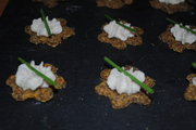 Raw Herbed Crackers topped with Cashew 'Cheese'