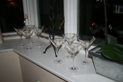 Glasses ready for lychee martini