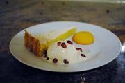 Lemon Tart, (slightly melted) lime ice cream and an orange polenta biscuit