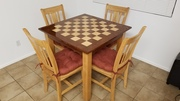 Maple and Mahogany Chessboard Kitchen Table