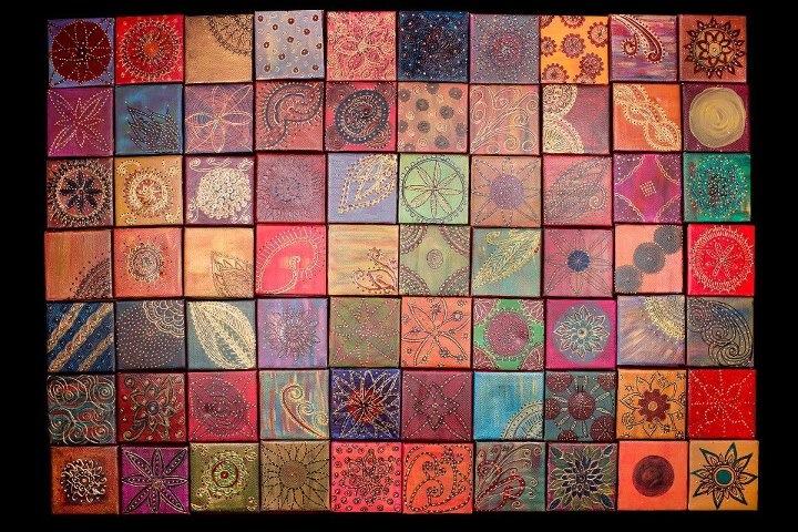 acrylic on 4x4 canvas on plywood board