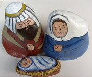 Nativity Scene Figures Painted on Medium Stones