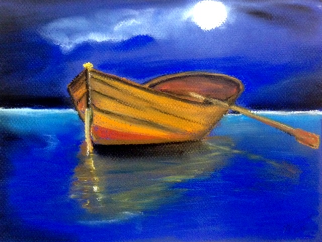Night scene of boat on water  done with pastels...