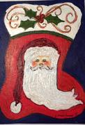 artwork, Santa on stocking