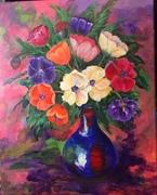 Still Life Poppies in blue vase.