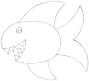 Cartoon Fish Pencil Sketch