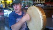 Hank playing bodhran at Perk Sept 15th 2012 (3)