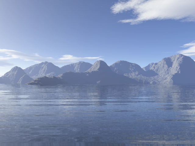 Terragen Landscape with Water Reflections Created in Sqirlz Reflections