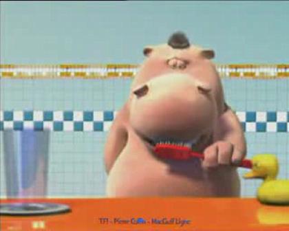 Hygiene: Hippo and Dog Brushing Teeth
