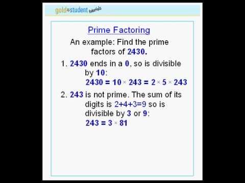 GoldStudent.com - Prime Factoring 2nd tutorial