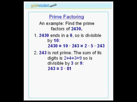 GoldStudent.com - Prime Factoring 2nd tutorial