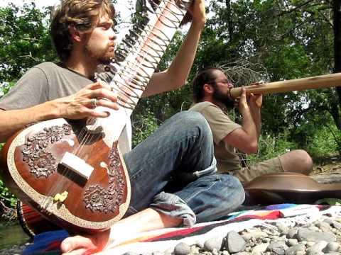 Sitar, didgeridoo and drums.