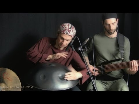 "Nadishana - Kuckhermann - Metz trio, ""SHU KHUR"" (hang drum, percussion, fretless bass)"