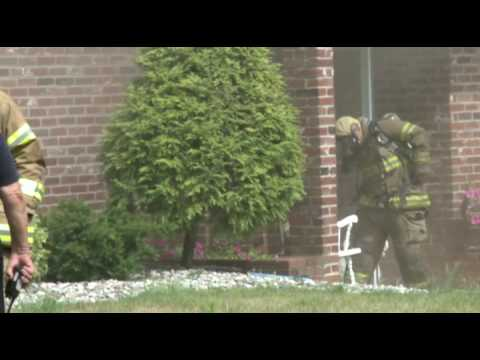 Engine company stretches in on a basement fire, WHITEHALL PA