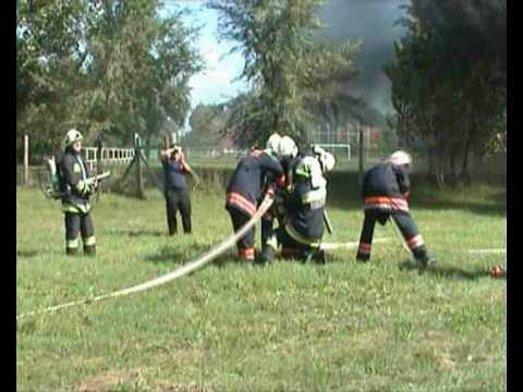 Youth volunteer fire-fighting demonstration, Kóka Hungary
