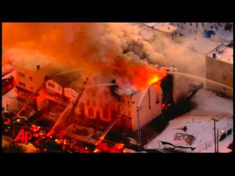 Raw Video: Row Homes Burn in N.J.