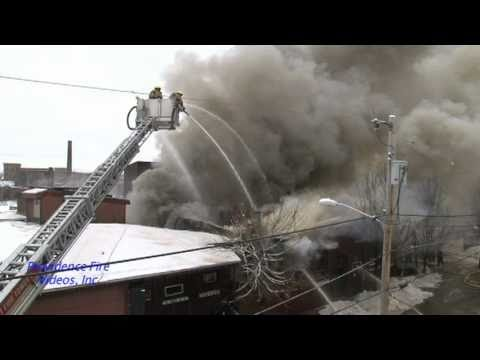 6 alarm mill fire in Woonsocket, RI