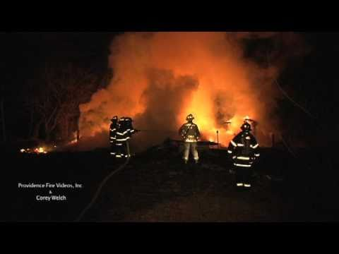 vacant building burns to the ground in Smithfield, RI