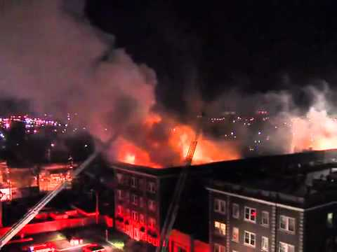 Rooftop View of Cleveland Apartment Fire