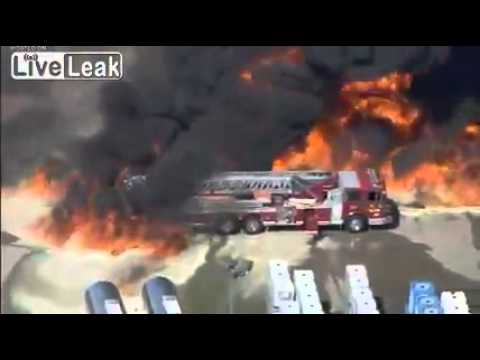 Raw Video: Massive Chemical Fire Swallows Up Fire Truck