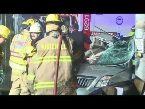 1 female extricated after pinned in car crash Whitehall, PA