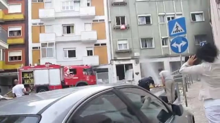 Fatal urban gas explosion and fire in Lisbon, Portugal.