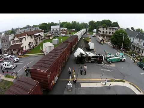 Drone video of a train that split a tractor trailer in 3