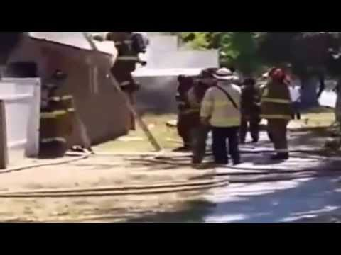 Fresno Firefighter Falls through Roof