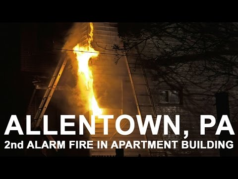 Allentown, PA firefighters battle 2nd alarm fire in apartment building
