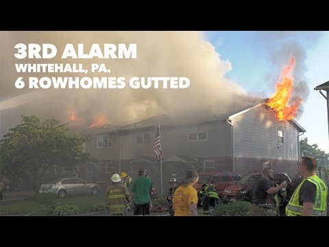 Three Alarm fire destroys 6 row homes in Whitehall, PA 06/30/16