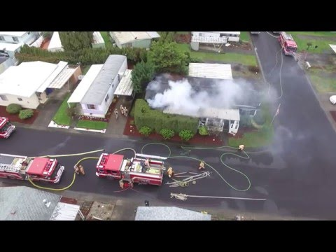 2nd Alarm Residential Structure Fire viewed from a Drone Salem Oregon
