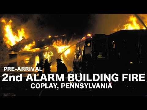Pre-Arrival Video: Fully Involved building at vacant lumber yard, Coplay, PA. 06/12/16
