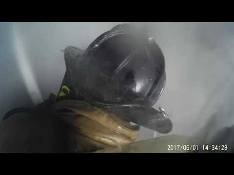 HELMET CAM: Stretching in on a warehouse fire