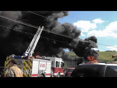 2nd Alarm building fire at salvage yard, Lehigh County, PA 06/26/17