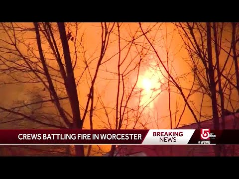 Firefighters Battle Worcester Blaze