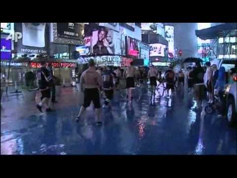 Street hockey on Time Square during Irene in Times Square
