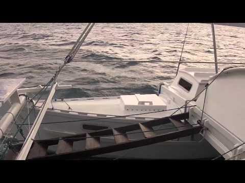 'Jumpa Lagi' - Wharram Tiki 38 - reaching at 7-9knots off Biliran Island Philippines Jun 2015