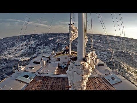 Pilgrim in Big Seas Sailing by Cap Creus