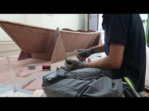 Stitching bulkhead 1 and 4 in place - Wharram Hitia 14